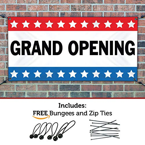 HALF PRICE BANNERS - Grand Opening Banner - Heavy Duty Outdoor - 2'x6' Stars - Made in The USA (Outdoor Banner Opening)