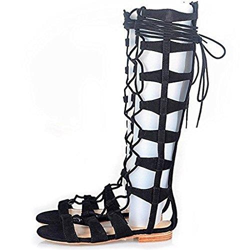 para cordones ELASHE romanas gladiador de mujer abierta la negras rodilla con punta Sandalias gladiador de sandalias con de Botas hasta Sandalias xqnHI61