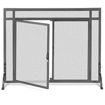 Black Freestanding Fireplace Screen W Doors (39 In. Width)