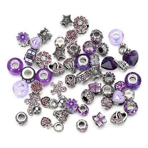 50 Piece Dream Purple Jewelry Making Charms Assorted Lampwork Murano Glass Beads Rhinestone Metal European Beads Crystal Bead Charms Fit Snake Style Charm Bracelet (Dream Purple-39) Dream Murano Glass Bead