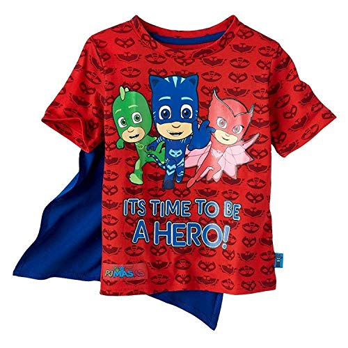 PJMASKS PJ Masks Boys Caped Shirt Catboy, Owlette, Gekko Short Sleeve Caped T-Shirt (Red, 3T)