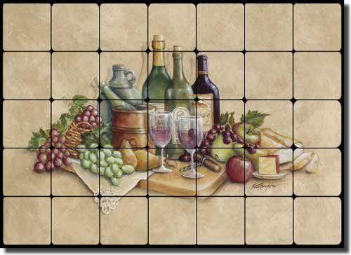 - Wine Time by Rita Broughton - Wine Grape Tumbled Marble Tile Mural Backsplash 28