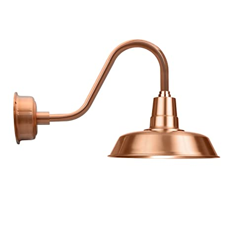Cocoweb 18 inch solid copper oldage led wall mounted gooseneck sconce light with solid copper arm