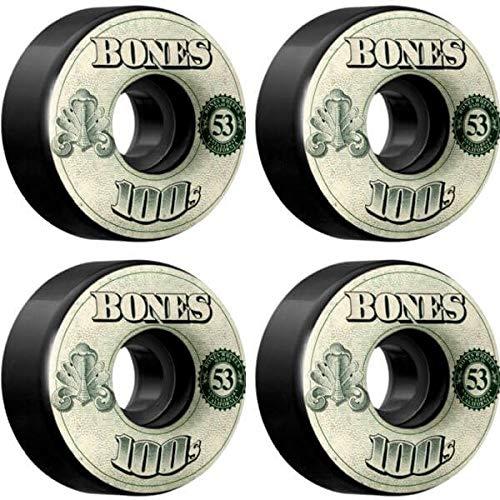 Bones Wheels 100 's og Moneyブラックスケートボードホイール – 53 mm 100 A ( Set of 4 )   B07462QZVD