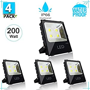 200W Outdoor LED Flood Light (Equivalent 1000W)26000 Lumens 6500K Cool White 85-265 Volt IP66 Waterproof Security Flood Light Super Bright Lighting for Playground,Garage,Garden and Yard(4 pack)