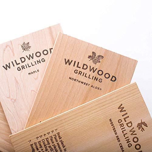 "Wildwood Grilling Small Grilling Planks Sampler - 6-Flavor Variety Pack - Cedar, Alder, Cherry, Hickory, Maple, Red Oak - 5""x8"""