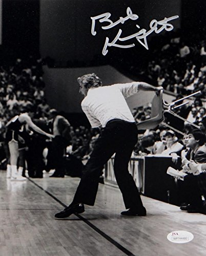 - Bob Knight Autographed Indiana 8x10 BW Throwing Chair Photo-JSA W Auth Silver