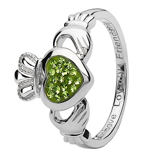 Ring Swarovski Crystal Peridot (Ladies Silver Peridot Swarovski Crystal Claddagh Ring (8.5))