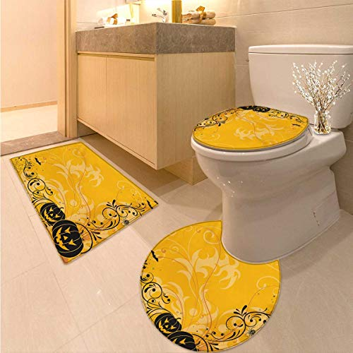 Anhuthree Halloween Toilet mat Set Carved Pumpkins with