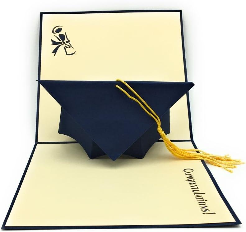 Tarjeta de graduación desplegable hecha a mano, ideal para estudiantes universitarios, graduados y doctorados.