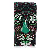 iPod Touch 5 Case, iPod Touch 6 Case, Jenny Shop Double Side Printed Design Dual Use Premium PU Leather Stand Feather Wallet Flip Case with Built-in Card Slots Cash Pocket Magnetic Closure (Tiger)