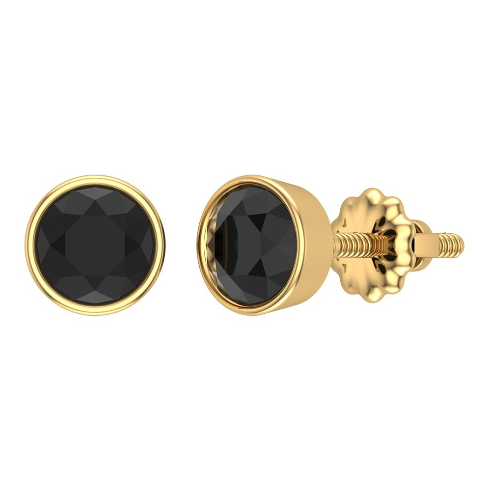 14K Gold Rose Cut Black Diamond Studs Hand Crafted Earrings 2 ctw plus - 6 mm by Glitz Design