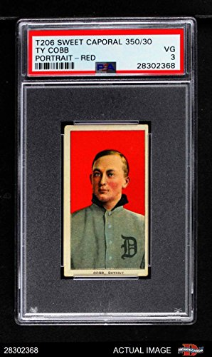 1909 T206 RED Ty Cobb Detroit Tigers (Baseball Card) (Portrait Red Background) PSA 3 - VG Tigers