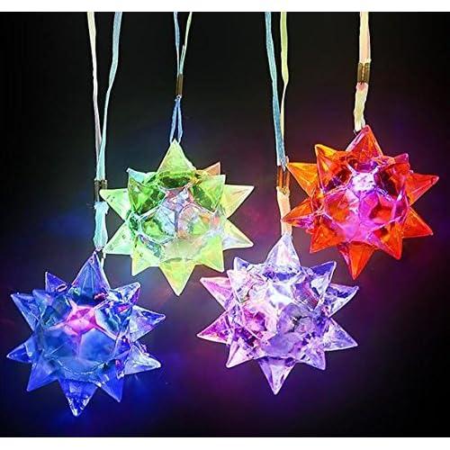 12 Light Up Crystal Star Necklace Flashing LED Blinking Glow Toy (TM) Hobby Trading Company