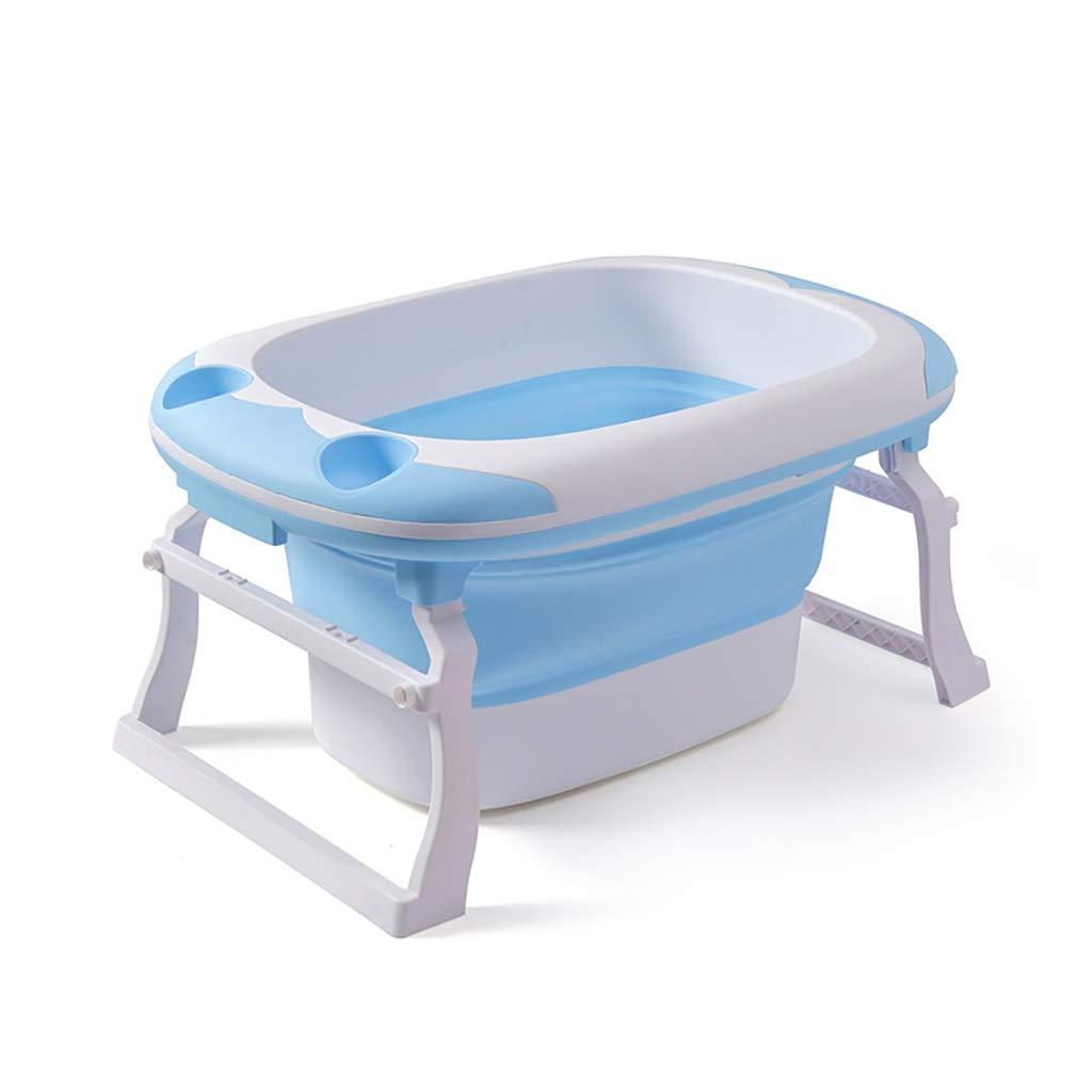 NUBAOgy ベビーバス浴槽、簡単収納のための携帯用子供の折りたたみ式浴槽、収納棚付きのベビーTPE風呂桶、2色、91 X 60 X 44 Cm (色 : 青) B07S1B2VVB 青