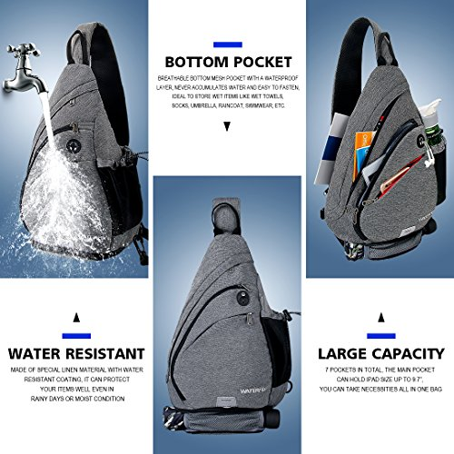 WATERFLY Sling Backpack, Sling Bag Small Crossbody Daypack Casual Canvas Backpack Chest Bag Rucksack for Men & Women Outdoor Cycling Hiking Travel