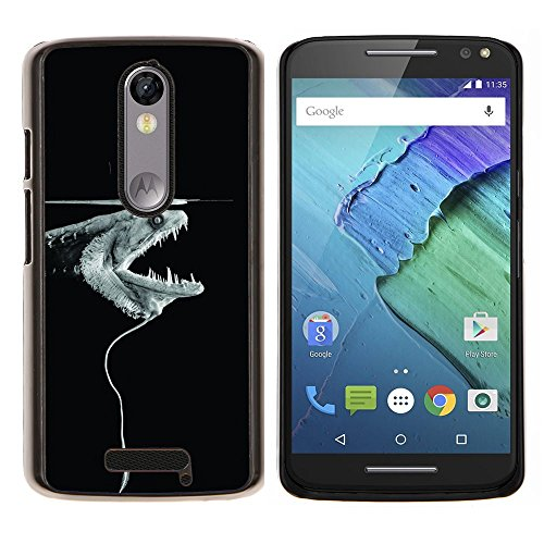 Electric Eel Fish Minimalist Black Monster - Aluminum Metal&Hard Plastic Back Case Cover - Black - Motorola Droid Turbo 2 / Moto X Force (Cell Phone Eel Case Skin)