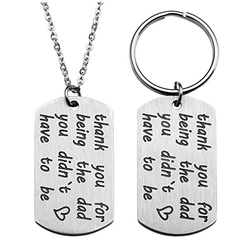Jovivi Mens Military Army Stainless Steel Dog Tag Necklace Keychain,Silver Engraved thank you for being the dad you didn't have to be,Father's Day Gift