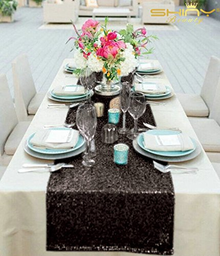 12x72 Black Sequin Table Runner Sparkly Metallic Sequin Runner for Wedding Party Dinner Reception, Event Bridalwedding Runner, Birthday Party, Dinner Party, Shower Ready to Ship!