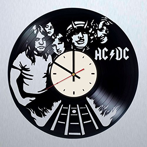 ACDC vinyl record wall clock Angus Young rock band wall clock artwork gift idea for birthday, christmas, women, men, friends, girlfriend boyfriend and teens - living kids room nursery