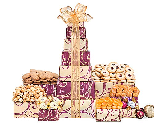 Festive Chocolate, Popcorn, Caramel, Butterscotch, Cookies and Sweets with Godiva Truffles Holiday Gift Tower by Wine Country Gift Baskets ()