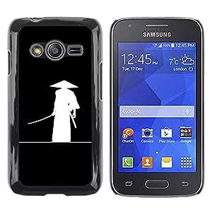 QCASE / Samsung Galaxy Ace 4 G313 SM-G313F / chino antiguo guerrero sombrero arte blanco negro / Delgado Negro Plástico caso cubierta Shell Armor Funda Case Cover