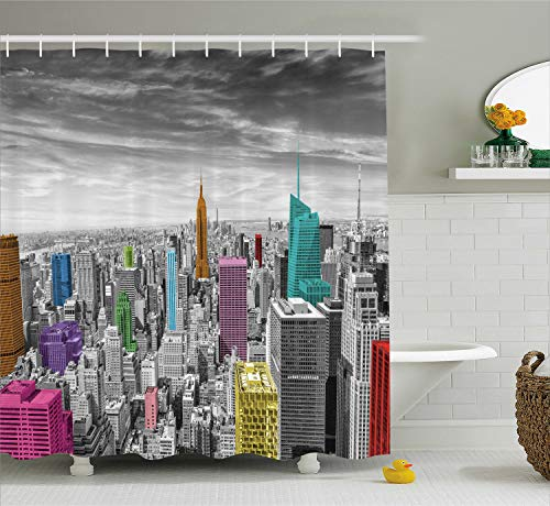 Ambesonne New York Shower Curtain, NYC Cityscape Monochrome Photograph with Colorful Buildings Urban Architecture, Cloth Fabric Bathroom Decor Set with Hooks, 70