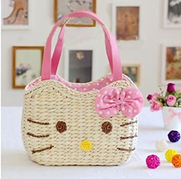 Buy Creativelife Handmade Straw Bag Beach Tote Shoulder Bag For Women Hello  Kitty Online at Low Prices in India - Amazon.in 6e2d954934eb5