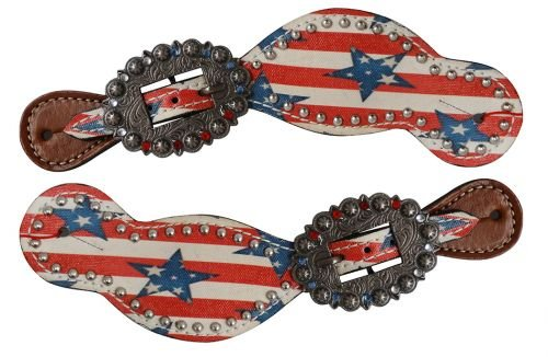 Showman Ladies Size Leather Spur Straps w/Stars & Stripes Print! NEW for the FORTH OF JULY!
