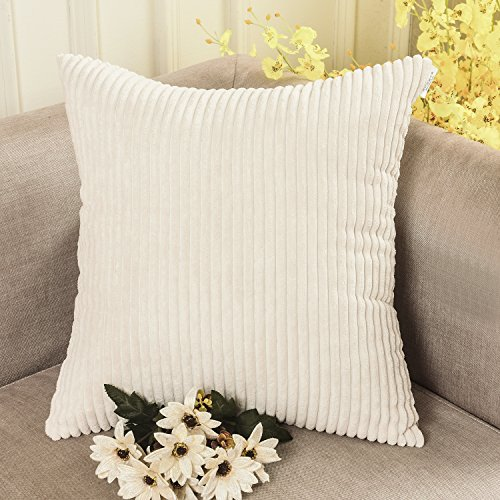 HOME BRILLIANT Solid Throw Pillows Decorative Accent Pillow Case Striped Corduroy Plush Velvet Cushion Cover Sofa, Cream Cheese, 18x18-inch (45cm) (Beige Pillows Accent)