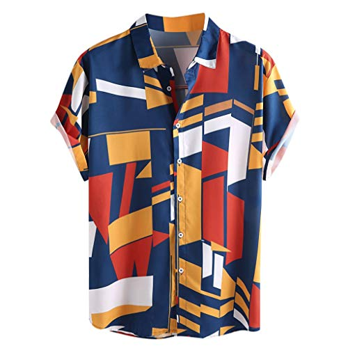 Big Sale! Fastbot Men's T-Shirt Short Sleeve fit Cotton Mens Contrast Color Geometric Printed Turn Down Collar Loose Shirts -