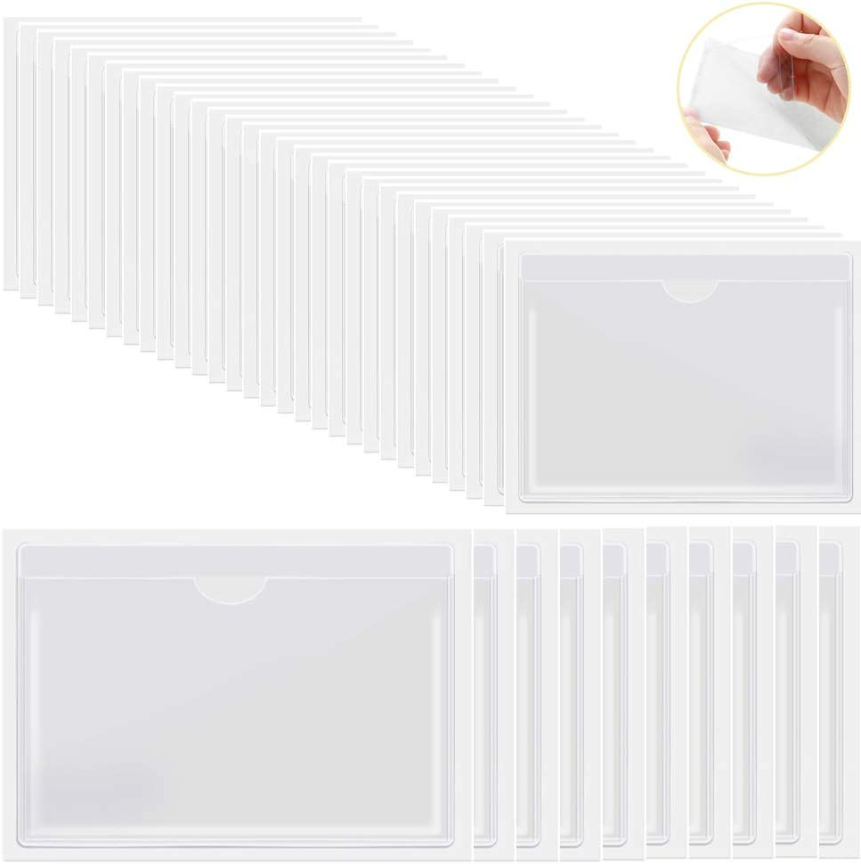 Self-Adhesive Index Card Pockets 30 Pcs 4.72 x 3.54 Inches /& 10 Pcs 6.5 x 5 Inches Blank Insert Cards for Storage Organizing Catalogs and Loss Prevention