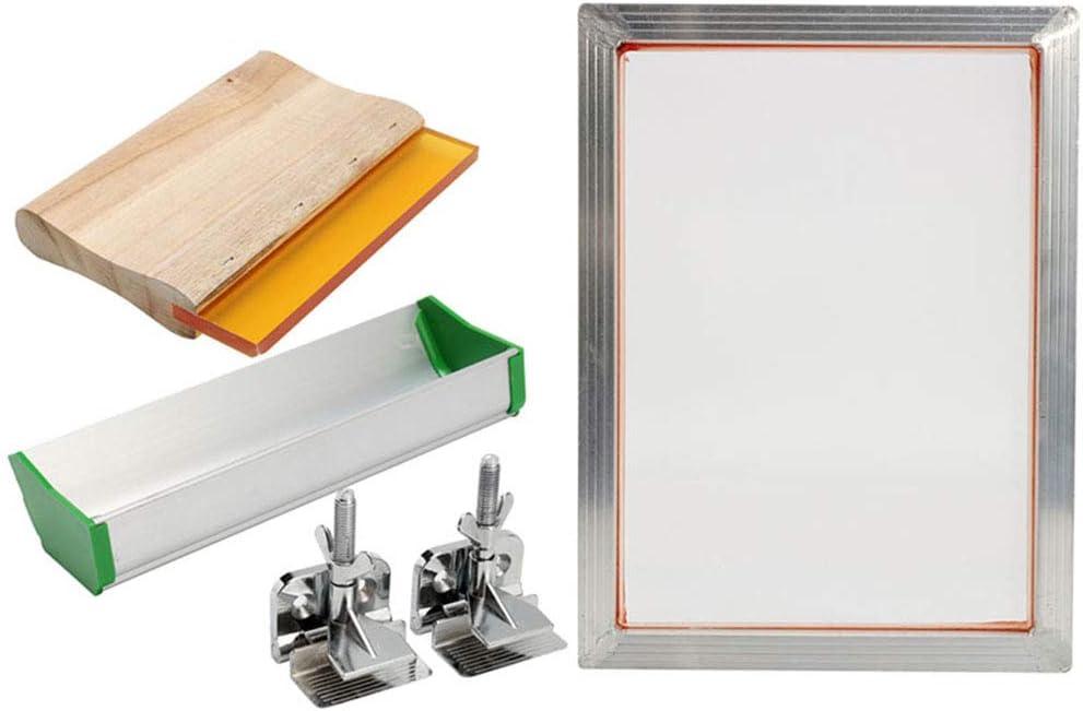 lzndeal Kit de serigrafía Marco de Aluminio Bisagra Abrazadera Emulsion Coater Squeegee