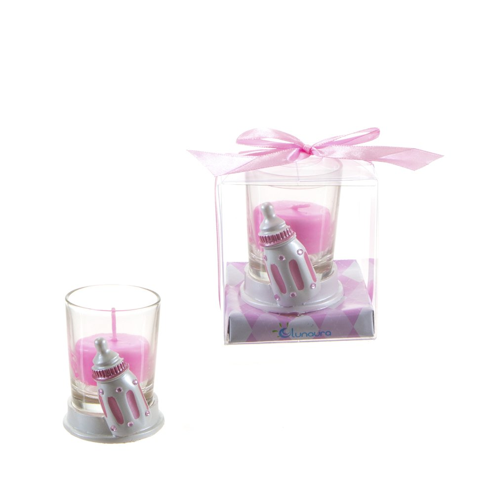 "Lunaura Baby Keepsake - Set of 12""Girl"" Baby Bottle Glass Votive Candle Set Favors - Pink"