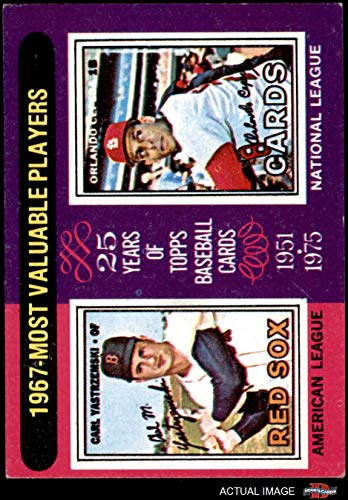 2001 Topps 205 Mini - 1975 Topps Mini # 205 1967 MVPs Carl Yastrzemski/Orlando Cepeda Red Sox/Cardinals (Baseball Card) Dean's Cards 4 - VG/EX Red Sox/Cardinals