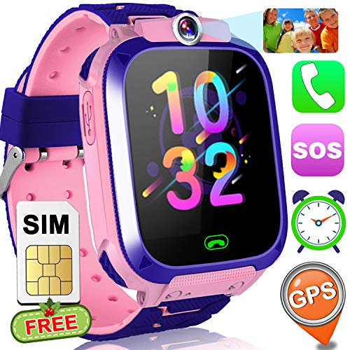 "Smart Watch for kids with Free SIM Card GPS Tracker Watch Phone Girls Boys 1.5"" Touchscreen Child Smart Watches with Flashlight SOS Anti-Lost Digital Camera Alarm Clock 4-12 Year GPS Smart Wrist Watch"
