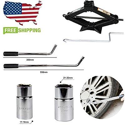 Extend Telescoping Lug Wrench Wheel Telescopic Van Brace 4 Standard Sockets(17/19, 21/23mm) & Heavy Duty 2 Tonne Scissor Jack Lift 90-360MM