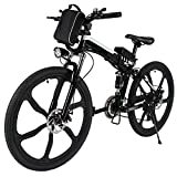 ferty Folding Electric Moped Sport Mountain Men Bicycle with Large Capacity Battery [US Stock] (Black)