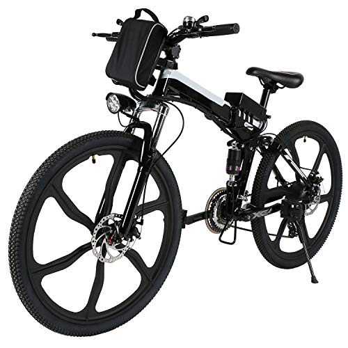 (ferty Folding Electric Moped Sport Mountain Men Bicycle with Large Capacity Battery [US Stock] (Black))