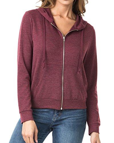 Nolabel B7_032 Women's Long Sleeve French Terry Drawstring Hoodies Zip Up Sweatshirt Hooded (Burgundy/5XL) by Nolabel