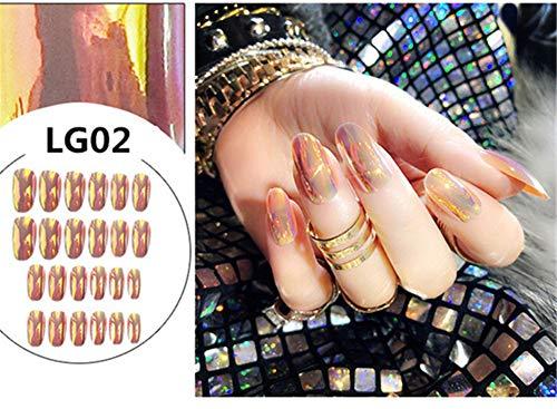 24 pcs Magic Light Changed False Nails Middle Long Round Head Mirror Reflective Bling Artificial Fake Nail with Glue Nail Art Tips full cover Pure colour Mirror False Nails (LG02)