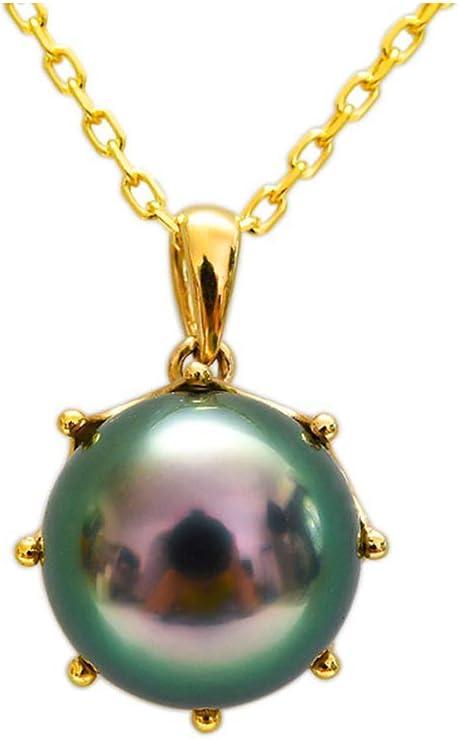 Los 9-10MM Natural Perla Colgante Auténtico Negro Perla Tahití Collar con Cadena De Oro De 18 Quilates, Aniversario, Día De San Valentín, Día De Madre