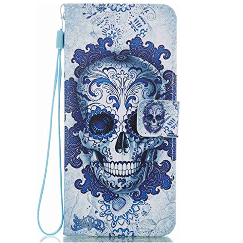 Neivi Samsung Galaxy S8 Plus S8 Case PU Leather Flip With Stand Protective Wallet Magnet Cover (S8 Plus, Blue (Skull Tower)