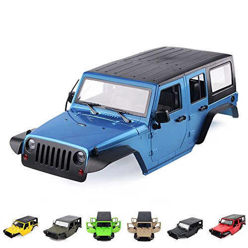 INJORA 7 Colors Available 12.3inch 313mm Wheelbase Jeep Wrangler Rubicon Car Shell for 1/10 RC Rock Crawler Axial SCX10 90046 (Blue)