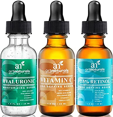 ArtNaturals Anti-Aging-Set with Vitamin-C Retinol and Hyaluronic-Acid - (3 x 1 oz) Serum for Anti Wrinkle and Dark Circle Remover - All Natural and Moisturizing