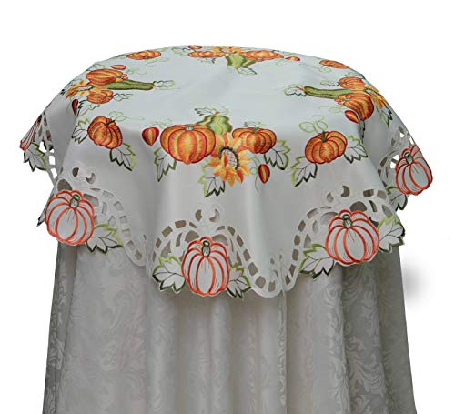 Creative Linens Fall Autumn Harvest Thanksgiving Embroidered Cutwork Pumpkin Sunflower Tablecloth 33