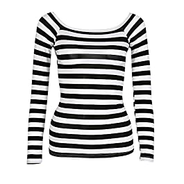 TUDUZ T Shirt Women's Long Sleeve Slim Round Neck Striped Basic T Shirt