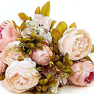 MARJON FlowersArtificial Flowers, Fake Flowers Silk Peony Bridal Bouquet for Home Garden Party Wedding Decoration(Baby Pink) 4