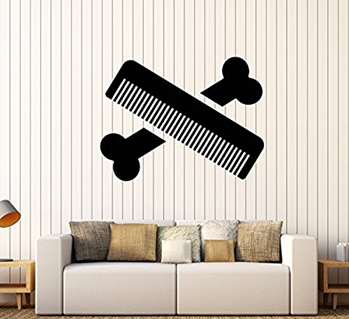 (Andre Shop Vinyl Wall Decal Bone Comb Pets Grooming Services Beauty Salon Stickers Large Decor17SX64i )