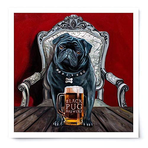 (Black Pug Brewery - Artist Signed Oil Painting Giclée Print Modern Home Office Wall Art Decor - Variety of Sizes Available)